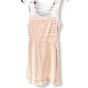Pins & Needless Anthropologie Ivory Lace Dress